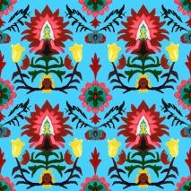 flores multicolor fondo turquesa