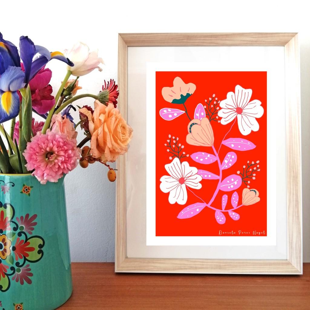 """Rosas sobre rojo"" $39.990"